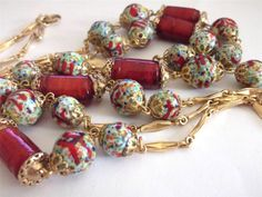 VINTAGE 60 S BURGUNDY RED COLOURFUL VENETIAN ART GLASS BEADS LONG NECKLACE