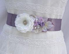 Vintage Inspired Bridal Sash-Wedding Sash In Lavender, Lilac And Ivory With Pearls And Rhinestones,Wedding Dress Sash, Bridal Belt