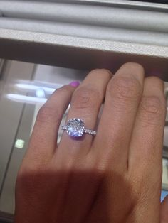 3.34 carat solitaire cushion cut with thin diamond band. PERFECT