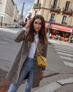 These Parisian streets though TravelOutfit WeekendLook WearToWork ShopStyle shopthelook MyShopStyle OOTD SpringStyle paris parisfashionweek plaidcoat yellow kooples thekooples emilybag 544583779936742489 Paris Outfits, Mode Outfits, Fall Outfits, Fashion Outfits, Jeans Fashion, Summer Outfits, Fashion Mode, Look Fashion, Fashion Trends