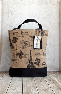 French Farmhouse Chic Farmers Market Black and Burlap Paris Eiffel Tower Tote Handbag  https://www.etsy.com/listing/185983452/french-farmhouse-chic-farmers-market?utm_source=google&utm_medium=product_listing_promoted&utm_campaign=bags_and_purses_low&gclid=COyFyPz48L0CFSsQ7Aod0G8AkA