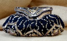 1920s handmade silk clutch, made with gold sequins and glass beads.