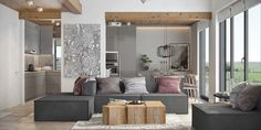 Fresh contemporary living space with minimalist tones in Ukraine
