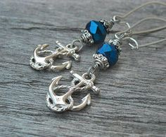 Anchor Earrings Rockabilly Nautical by InkandRoses13 on Etsy