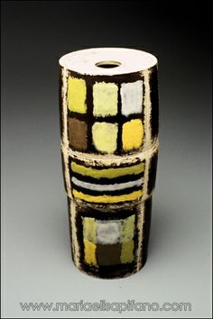 "Maria Elisa Pifano - ceramic sculpture ""Totem with yellows and greens"" unglazed stoneware with engobes"