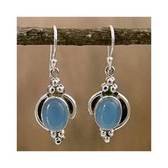 Sterling Silver 'Sky Charm' Chalcedony Dangle Earrings (India)