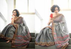Kalamkari Sarees - Grey pink stripes kalamkari border cotton by Suta - PC12096 - Main