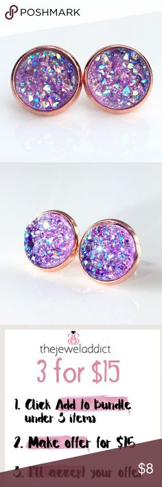 3 for 15🎀 Lavender faux druzy rose gold studs New! Handmade by me 1/2 inch, 12mm chunky Lavender faux acrylic druzy in rose gold tone earrings. Rose gold backings. PRICE FIRM if purchasing 1 pair ($8). No trades.  ➡️TO GET 3 FOR 15 deal⬅️ ✅Click Add to Bundle under any 3 items (marked 3 for 15) ✅Make offer for $15 ✅I'll accept your offer ✅ Additional items $5 each so 4 pairs=$20, 5 pairs=$25, etc. If you need help, let me know 😊 thejeweladdict Jewelry Earrings