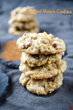Chewy Oatmeal Raisin Cookies are one of the chewiest cookies ever! Soft and chewy with raisins inside and bursting with pumpkin pie spice. | giverecipe.com | #cookies #oatmeal