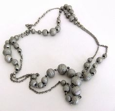 Silvetone Long Brushed Bead and Chain Link Necklace by ediesbest, $10.95