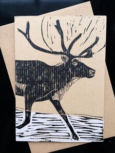 Double sided Christmas card  Stag on Snow  lino by thehomepress