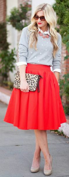 Grey sweater, white button up, red full skirt, grey pumps #outfit #style
