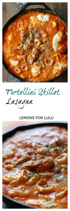 This easy one pot meal is bursting with flavor! A simple tortellini lasagna made in your skillet! lemonsforlulu.com