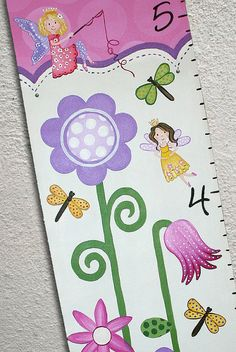 Custom Painted Growth Chart Fairies Flowers by SweetDreamMurals