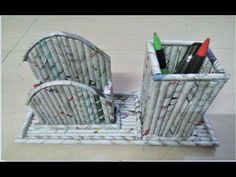 DIY: How to make pen stand and mobile stand using news paper rolls - YouTube
