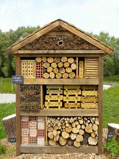 Bee and Insect House, Maison du Parc, les Marais Garden Insects, Garden Bugs, Garden Pests, Bug Hotel, Permaculture, Culture Bio, Wild Bees, Mason Bees, Bee House