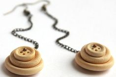 http://www.etsy.com/listing/89148937/natural-wooden-buttons-stacked-on #jewelry #earrings $18