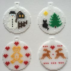 How To Make Dİfferent Handmade Christmas Ornaments For Your Home - DIY Discovers A new year is coming in a month. However there is one month till the new year, the shopping centers Hama Beads Design, Diy Perler Beads, Hama Beads Patterns, Perler Bead Art, Beading Patterns, Christmas Perler Beads, Christmas Ornaments, Beaded Ornaments, Handmade Ornaments