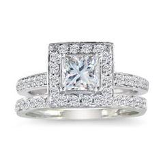 1/2ct Pave Princess Diamond Bridal Set in 14k White Gold (HI I1-I2 Size 4-9.5) $599.95