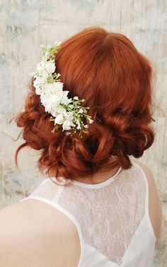 Elora  white blossom bridal comb by gardensofwhimsy on Etsy, $34.00