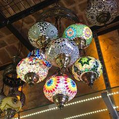 UNIQUE TURKISH MOSAIC CHANDELIER, 9 GLOBES Turkish Lanterns, Turkish Lamps, Turkish Coffee Set, Large Lamps, Retro Lamp, Wood Lamps, Contemporary Lamps, Decorating Tools, Hanging Lights