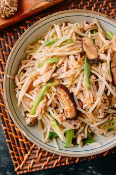Chicken and Bean Sprouts Stir Fry recipe by The Woks of Life Asian Recipes, Healthy Recipes, Ethnic Recipes, Asian Foods, Healthy Meals, Bean Sprout Recipes, Chicken And Bean Sprouts Recipe, Vegetable Recipes, Stir Fry Recipes