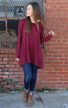 Organic Cotton Soft & comfy Georgia Tunic Top with pleat in back and distressed fabrication by Chalet et ceci