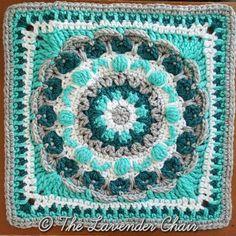 square # 3 -Chrysanthemum Mandala Square - Free Crochet Pattern Mandala Blanket CAL The Lavender Chair Crochet Squares Afghan, Granny Square Crochet Pattern, Afghan Crochet Patterns, Crochet Granny, Crochet Motif, Crochet Yarn, Crochet Flowers, Free Crochet, Granny Squares
