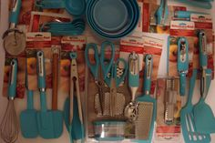 New KitchenAid Aqua Blue Turquoise Can Opener Spatula Measuring Cups Spoons