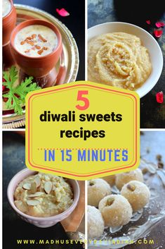 collection of 5 diwali sweets recipes. Quick and easy diwali sweets recipes like instant peda, instant coconut ladoo, paneer kheer, palakova and almond halwa. Easy Indian Dessert Recipes, Indian Desserts, Indian Sweets, Sweets Recipes, Indian Food Recipes, Cooking Recipes, Eggless Recipes, Cooking Videos, Easy Recipes