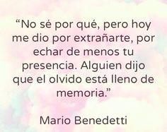 Hasta en el olvido te recuerdo. Mario Benedetti