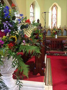 Posy Barn church flowers with a wildflower feel