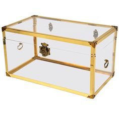 1970s Brass and Clear Trunk or Coffee Table   From a unique collection of antique and modern trunks and luggage at https://www.1stdibs.com/furniture/more-furniture-collectibles/trunks-luggage/