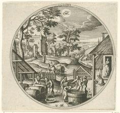 Adriaen Collaert | October, Adriaen Collaert, Hans Bol, Hans van Luyck, 1578 - 1582 | Ronde lijst met een herfstlandschap en najaartaferelen. Oktober is de wijnmaand. Centraal staat de druivenpluk en het maken en tonnen van wijn. Mannen, vrouwen en kinderen plukken druiven en persen ze. Daarna wordt de wijn in tonnen gegoten. Middenboven het sterrenbeeld Schorpioen. De prent is deel van een twaalfdelige serie over de twaalf maanden.