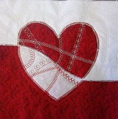 Mended Heart, detail, in our collection of free patterns for Valentines Day, mug rug or mini quilt