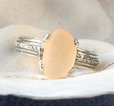 Seaglass & Sterling Silver Ring Size 8 in Peach Light Orange Color