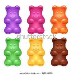 Set of colorful beautiful realistic jelly gummy bears. Sweet candy food. Blueberry orange lemon menthol chocolate flavors. Vector illustration.