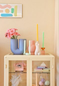 #shelf styling #deco #decoration #interior #interiordesign #vase #muuto #candlestick #candle #pastel #ikeakommode