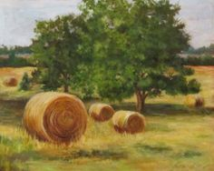 Original Landscape Oil Painting of Golden Round by ChatterBoxArt
