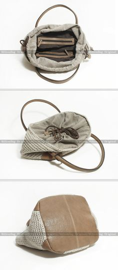 Genuine Leather Knitting Handmade Purse Shoulder Bag by MillionBag, $88.00