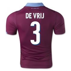 ss Lazio 2014-15 season De Vrij #3 Away Red Soccer Jersey [A245]