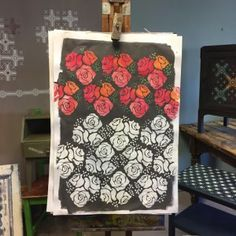 Here's what you can do with the Annie Sloan stencil  'Roses'... You can paint it in one colour or more