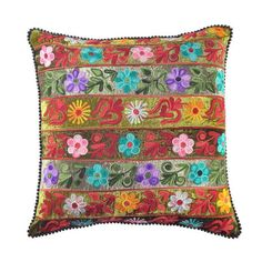 Multicolor+cotton+velvet+pillow+with+an+embroidered+floral+stripe+motif.+  ++  Product:+PillowConstruction+Material:+C...
