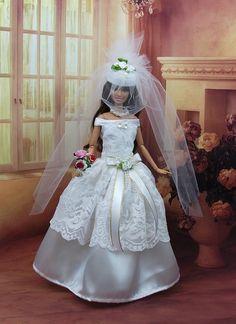 """Robe Barbie  """" Mariée N°17 """" tenue pour poupée f3788"""