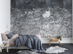 Papier Peint Graffitti Effet Ardoise