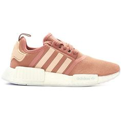 adidas Originals NMD R1 Runner Boost Womens (salmon white) ($155) ❤ liked on Polyvore featuring shoes, athletic shoes, white athletic shoes, adidas originals shoes, adidas originals, white shoes and salmon shoes