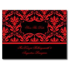 Red and Black Damask Save The Date Postcard