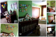 Love almost everything about this jungle theme baby room... Especially the circles above the crib.