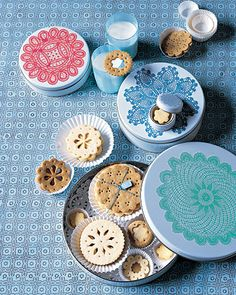 Doily Tins ~ Present cookies in tins with our download-and-print doily labels, or scan and print your own doilies.    How to Make Doily Tins