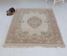 Vintage pink rug, wool shabby chic rug